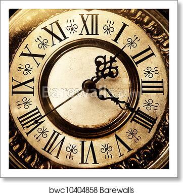 Old antique clock, Art Print   Barewalls Posters & Prints .