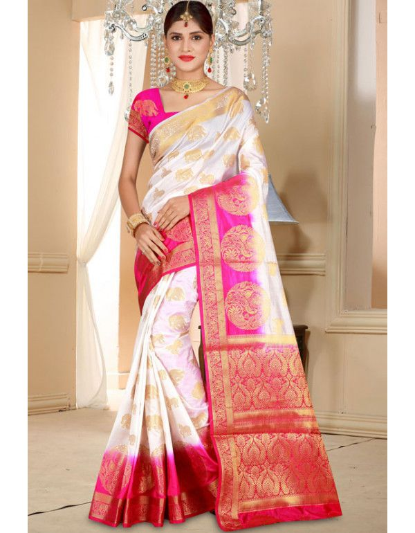 White and Hot Pink Art Silk Saree | Saree, Designer silk sarees .