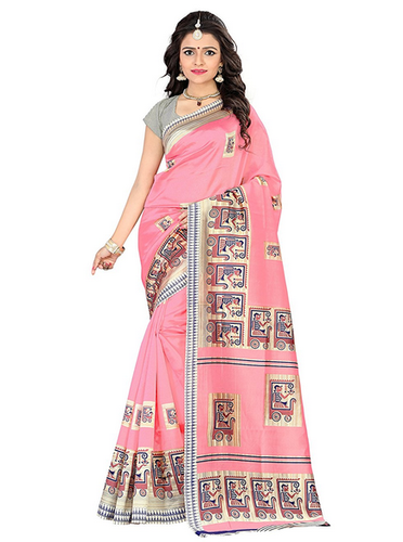 Mysore Art Silk Sarees - Jaanvi Fashion Mysore Art Silk Saree Pink .