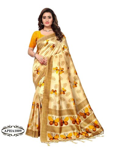 Printed Designer Art Silk Saree, Length: 6.3 m (with Blouse Piece .