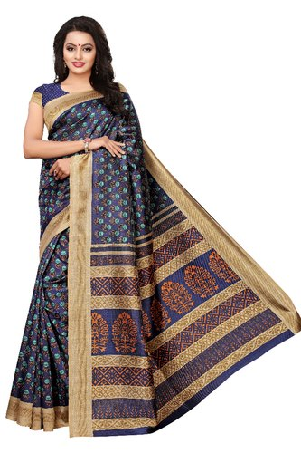 Multicolor Riti Riwaz Printed Art Silk Saree, 6.3 M (with Blouse .