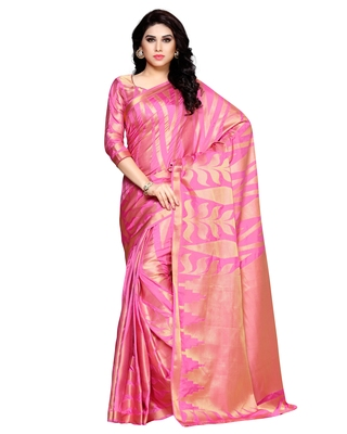Mimosa pink woven art silk saree with blouse - MIMOSA - 26088