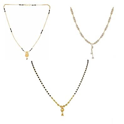 Buy StoresHub Black Beads and Artificial Diamond Gold Plated .