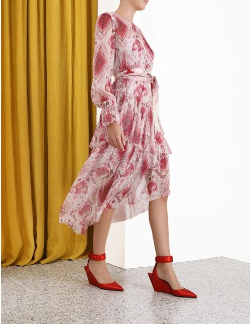 Wavelength Asymmetric Dress Raspberry Ikat Online | Zimmerma