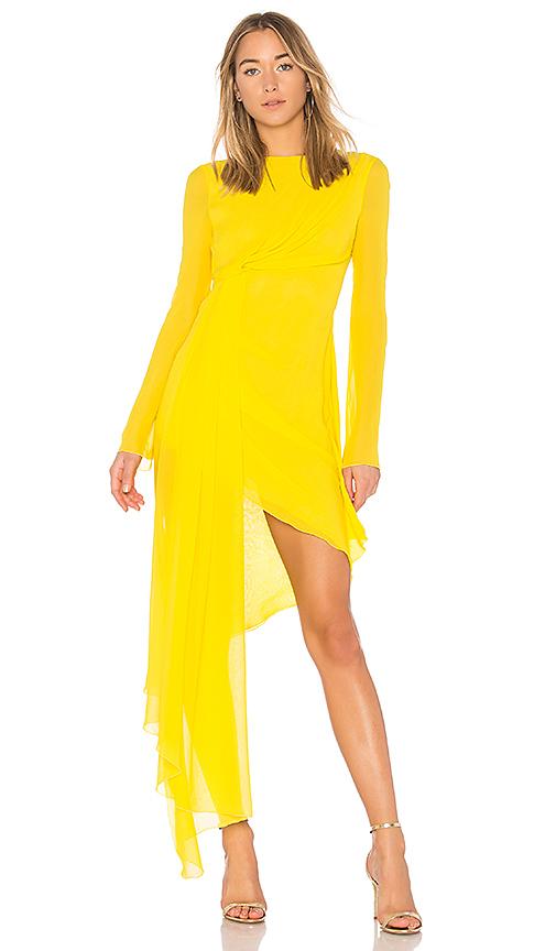 OFF-WHITE Asymmetric Dress in Yellow | REVOL