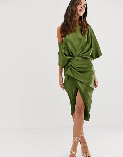 ASOS EDITION drape asymmetric midi dress in satin | AS