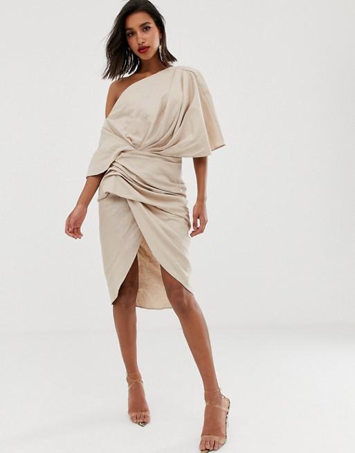 ASOS EDITION drape asymmetric linen midi dress | AS