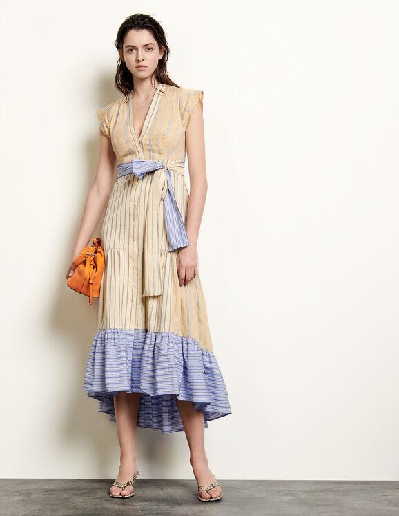 Long asymmetric dress with stripes - Dresses | Sandro Par