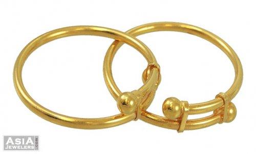 22K Gold Baby Bangles - AjBa53728 - 22K Gold Baby Bangles (set of .