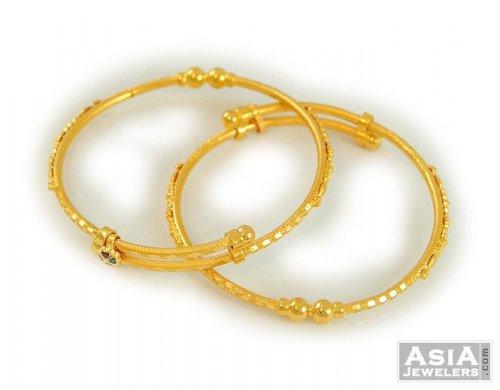 22k Adjustable Baby Bangles - AjBa52751 - 22k Gold baby bangles .