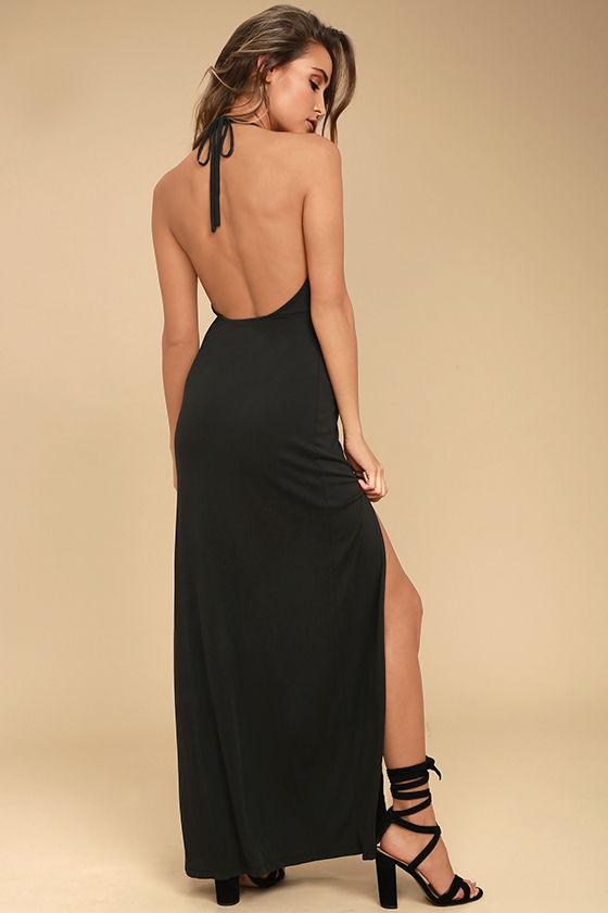 Sexy Charcoal Grey Dress - Halter Dress - Maxi Dress - Backless .
