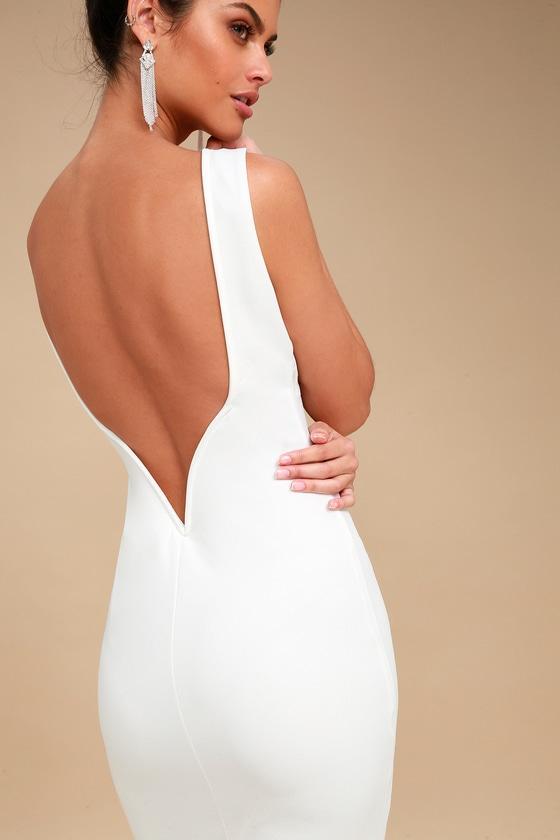 Chic White Midi Dress - Bodycon Dress - White Backless Dre