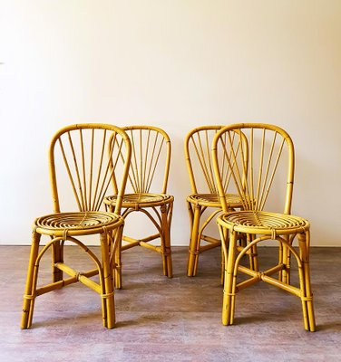 Bamboo Chairs, 1970s, Set of 4 for sale at Pamo