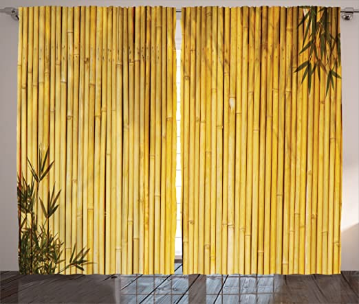 Amazon.com: Ambesonne Bamboo Curtains, Bamboo Stems and Leaves .