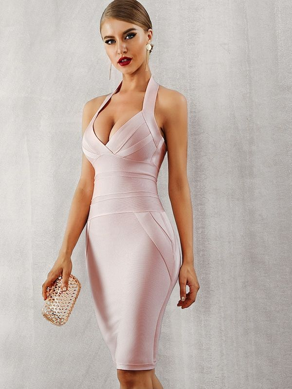 Adyce Zip Back Halterneck Backless Bandage Dress | SHEIN (With .