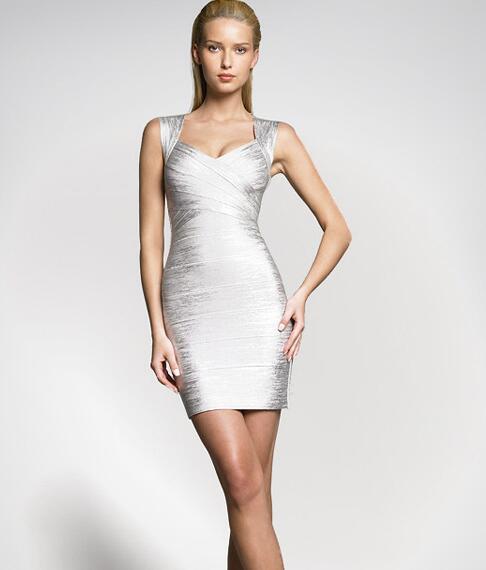 Wholesale Women Sexy V Neck Gold Silver Bronzing Bandage Dress .