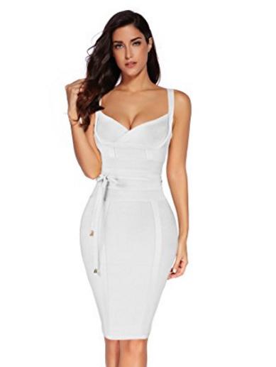 White Corset Style, Tie Waist Detail Bandage Dre