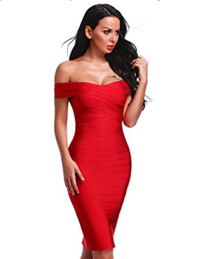 Red Classic Off the Shoulder Midi Bandage Dre