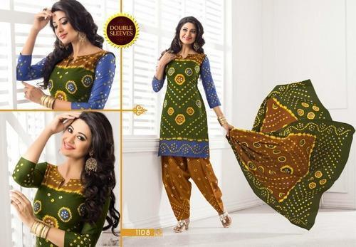 Premium Bandhani Cotton Printed Salwar Kameez Material, सलवार .