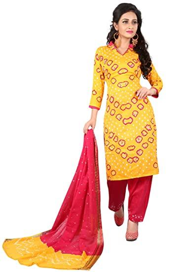 Buy Adyah Enterprise Cotton Bandhani Salwar Suit .