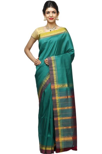 Bottle Green Bangalore Pure Silk Sarees, With Blouse Piece, 6.08 .