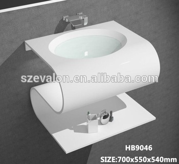 Hair Salon Acrylic Solid Wash Basins With Led Light,Above Counter .