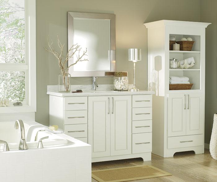 Transitional White Bathroom Cabinets – Diamond Cabine