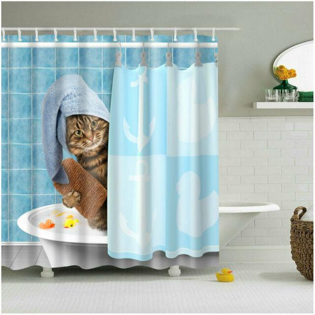 Shower Curtain Set Funny Kitten Cat Bathing Decor Bathroom .