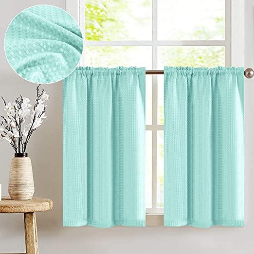 Amazon.com: Light Teal Short Aqua Curtains for Kitchen 36 inch .