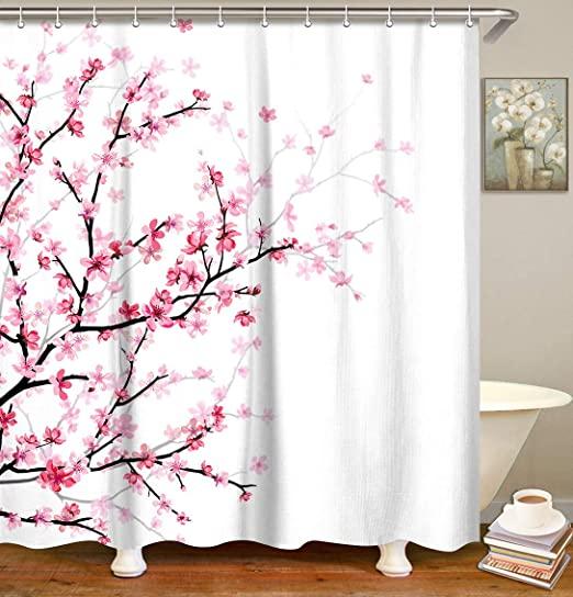 Amazon.com: LIVILAN Pink Floral Bathroom Curtain Cherry Blossom .