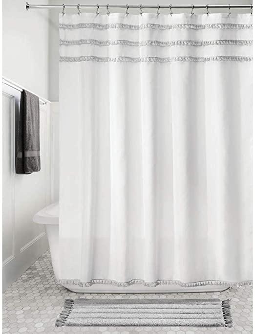 Amazon.com: iDesign Fabric Shower Curtain with Tassels, 72 x 72 .