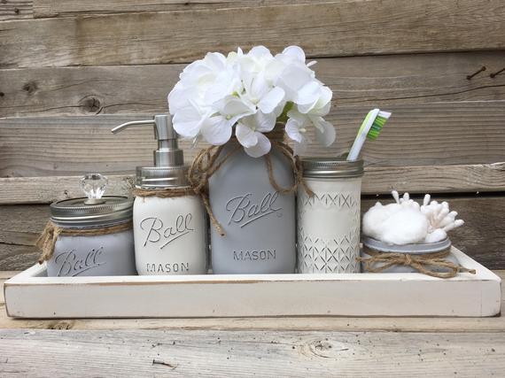 Gray Bathroom Decor Gray Bathroom Set Gray Mason Jar | Et
