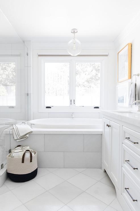 White Diamond Pattern Bath Floor Tiles - Transitional - Bathro