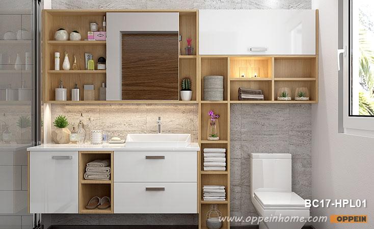 White and Wood Grain Bathroom Mirrored Medicine Cabinet BC17-HPL01 .
