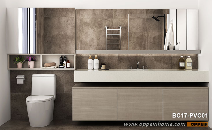 Light Wood Grain Bathroom Mirror Cabinet BC17-PVC01- OPPEIN | The .