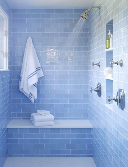 OUR FAVORITE COLORFUL BATHROOMS (With images) | Blue bathroom tile .
