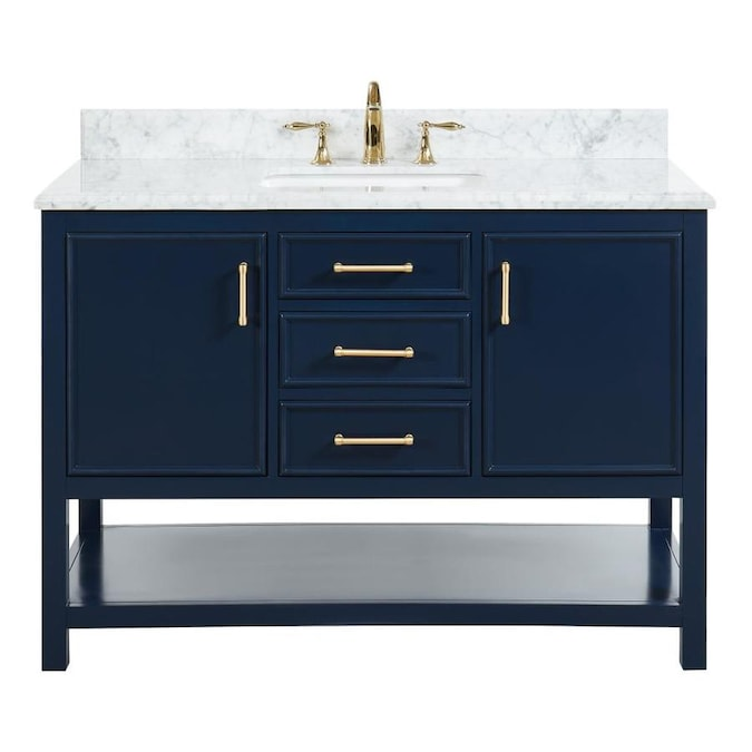 allen + roth Presnell 49-in Navy Blue Single Sink Bathroom Vanity .