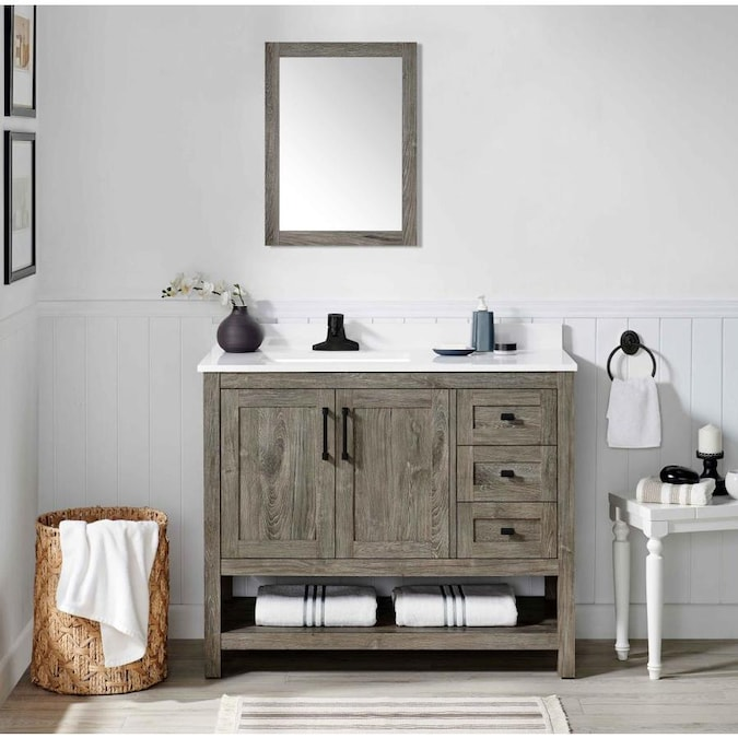 OVE Decors Charles 42-in Weathered Gray Single Sink Bathroom .