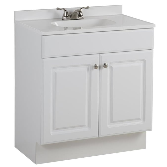 Project Source 30.5-in White Single Sink Bathroom Vanity with .