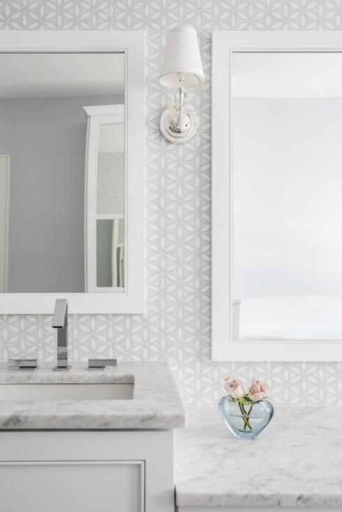 White and Gray Mosaic Bathroom Wall Tiles - Transitional - Bathro