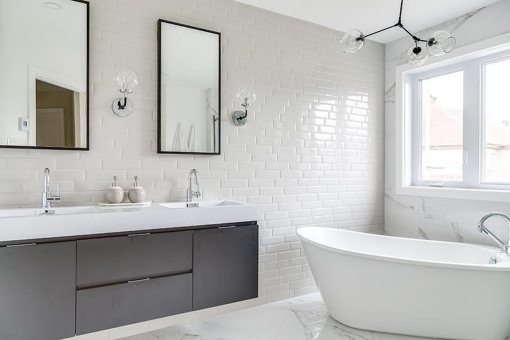 Horizontal Thin Light Gray Bathroom Wall Tiles - Modern - Bathro