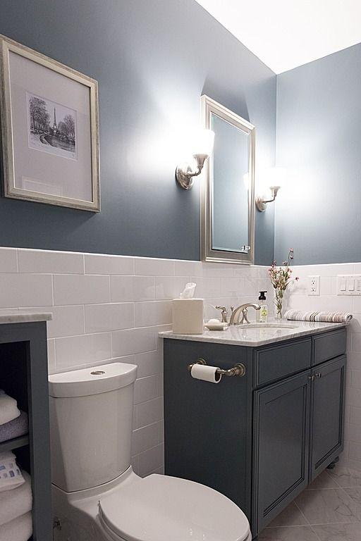 Contemporary Full Bathroom - half wall with tile | Bathroom design .