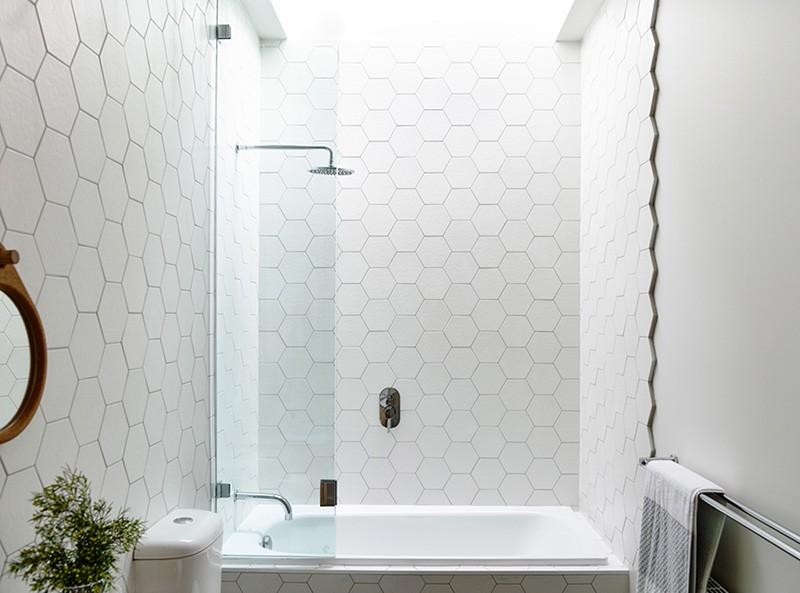 Design Detail: Hexagonal Tiles On A Bathroom Wa