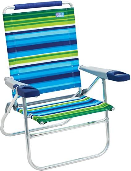 """Amazon.com : Rio Beach 15"""" High Beach Chair, Blue/Green Stripe ."""