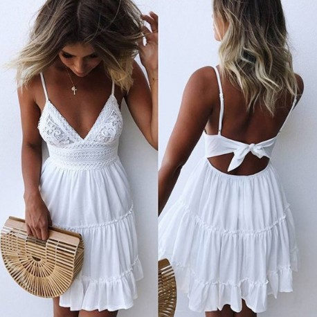 Summer Women Lace Dress Sexy Backless V-neck Beach Dresses 2018 .