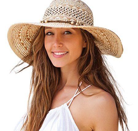 Jogoo Women Sun Beach Hats,Wide Brim Straw Hat,Unique Windproof .