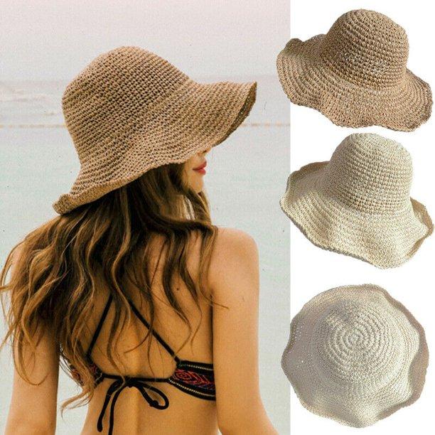 SUNSIOM - SUNSIOM Ladies Summer Sun Hats Women Panama Straw Beach .
