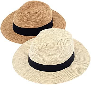 Amazon.com: DeELF 2 Packs Beach Hats for Women Summer Straw Sun .