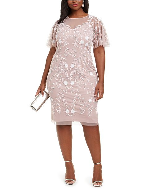 Adrianna Papell Plus Size Beaded Dress & Reviews - Dresses .