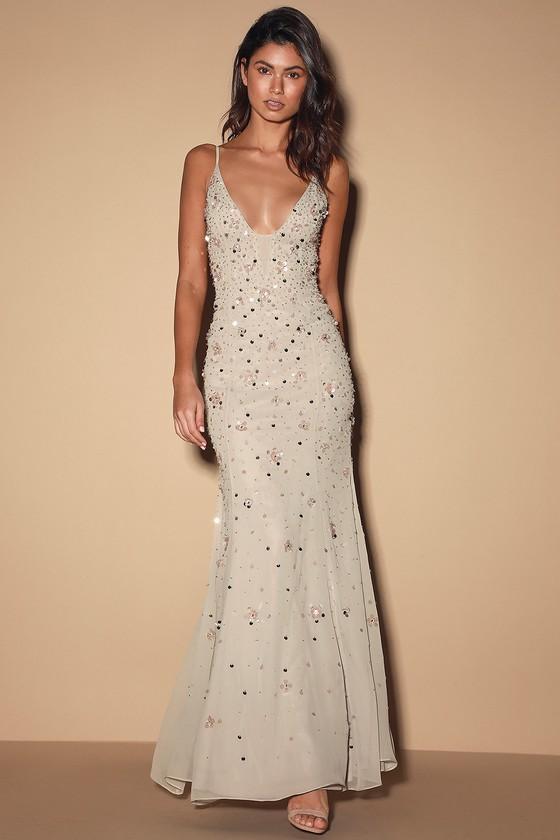 Grey Beaded Sleeveless Maxi Dress - Georgette Mermaid Maxi Dre